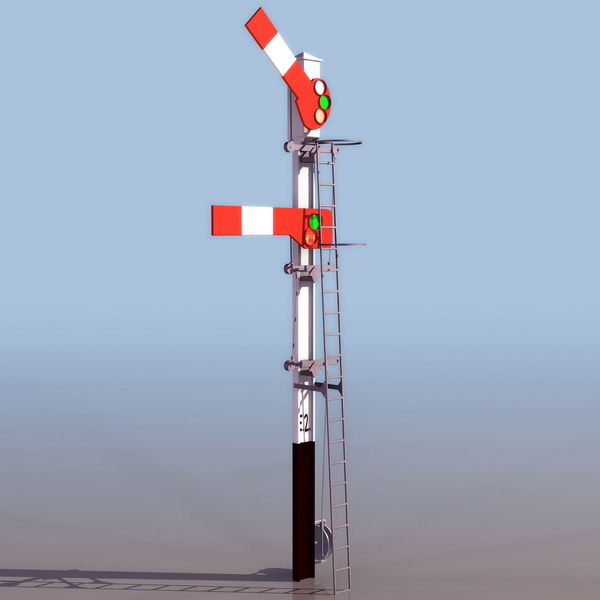Railway semaphore stop signal 3d model 3ds files free ...