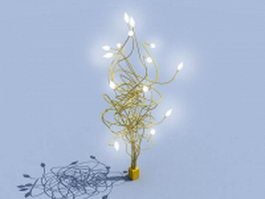 Golden metal tree lamp 3d model
