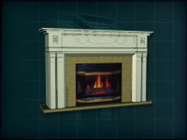 Gypsum mantelpiece wood burning fireplace 3d model