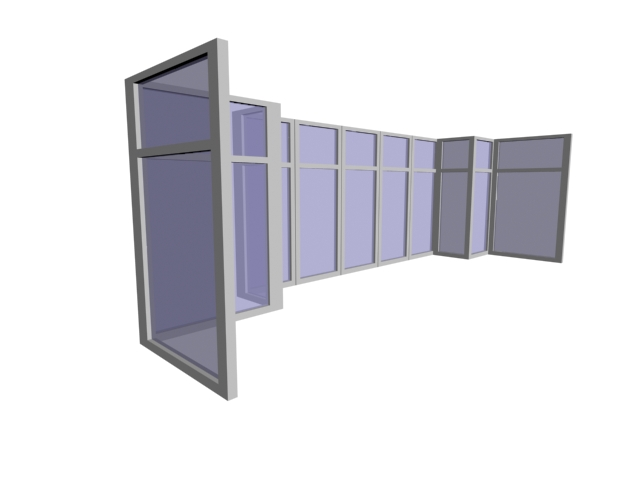 Blue Glass Aluminum Alloy Window 3d Model Cadnav