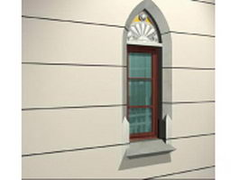 Single hung sash window with decorative lintel 3d model