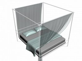 Iron four-poster bed 3d model