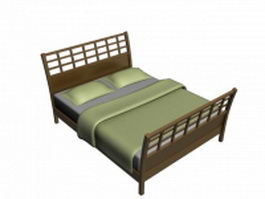 Wooden bed with headboard and footboard 3d model