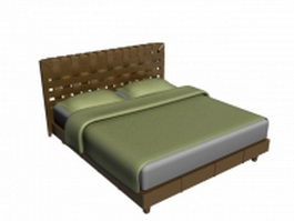 Teak wood mattress double bed 3d model