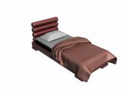 Upholstered red single bed 3d model