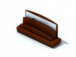 Desktop wooden business card holder 3d model