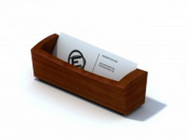 Desktop wooden name card holder 3d model