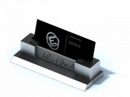Desktop name card holder with clock 3d model