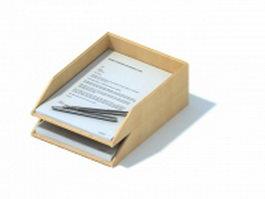 Office wooden file holder rack 3d model