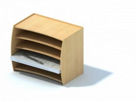 Wood desktop file holder 3d model