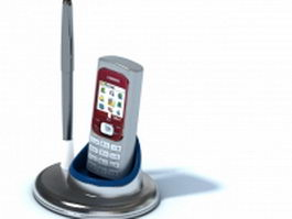 Desktop mobile cell phone holder whit pen 3d model