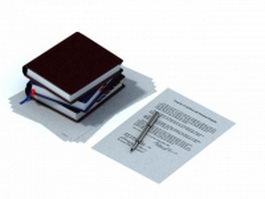 Paper notebooks and pen 3d model