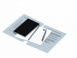 Spiral notebook with pen 3d model