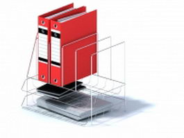 Stainless steel file folder rack with documents 3d model