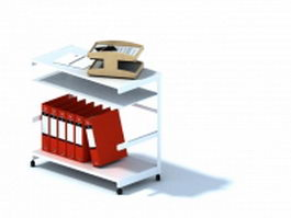 Office desk and document folder 3d model