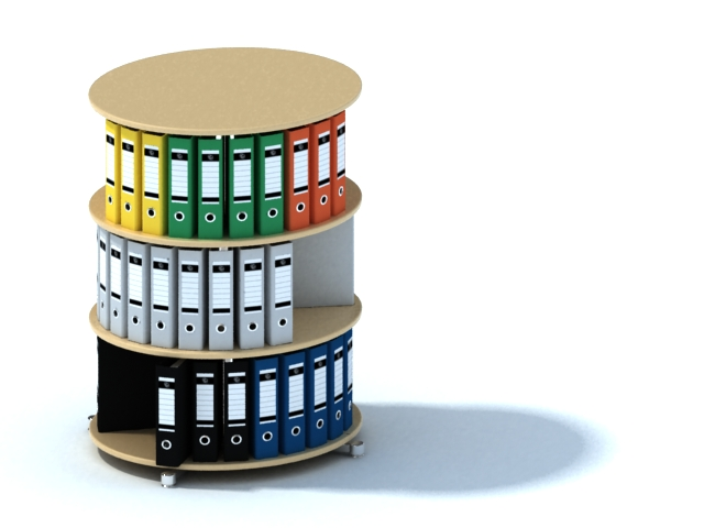 Round Display Stand With File Folders 3d Model 3dsmax
