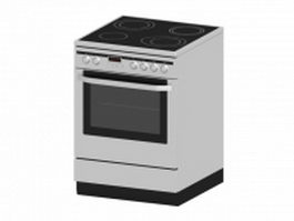 Electric oven with stove 3d model