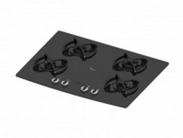 Gas stove cooktop 3d model