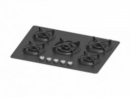 Tempered glass 5 burners gas cooktop 3d model