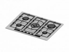 5 burner electric cooktop 3d model