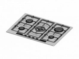 5 burner electric cooktop 3d model