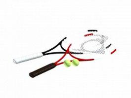 Tennis rackets and tennis ball 3d model