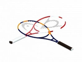 Carbon fiber tennis rackets 3d model