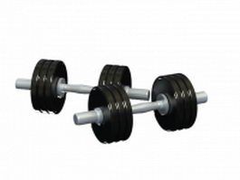 Cast iron dumbbells 3d model