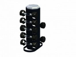 5 pairs vertical dumbbell rack 3d model