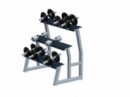 3 Tier Hex dumbbell rack 3d model