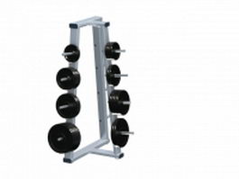 Barbell and bumper plates rack 3d model