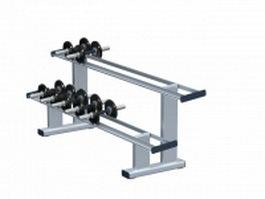 2-Tier dumbbell holder rack 3d model