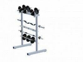 Gym barbell bar & weight plate rack 3d model