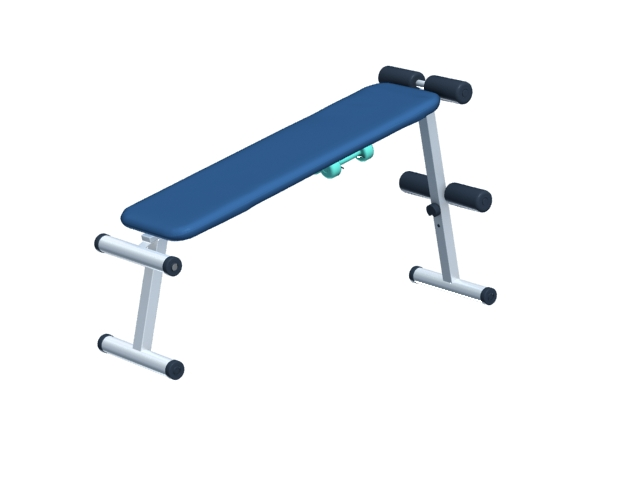 Fitness sbdominal crunch exercise bench 3d rendering