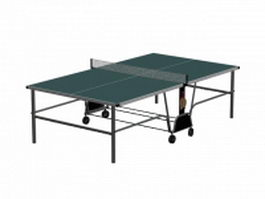 Folding table tennis table and rackets 3d model