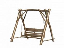 Garden wooden swing seat 3d model