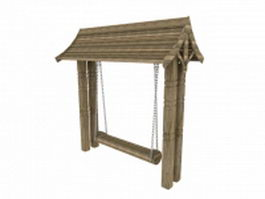 Garden wooden canopy swing 3d model