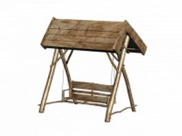 Wooden canopy swing seat 3d model