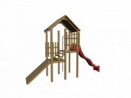 Kids wooden playset 3d model