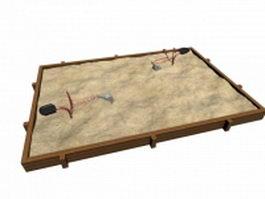 Outdoor wooden sandpit 3d model