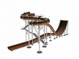 Amusement park water slide 3d model