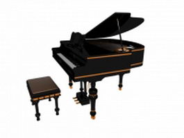 Black grand piano with bench 3d model