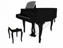 Acoustic grand piano and stool 3d model
