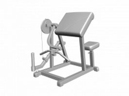Cable machine biceps curl 3d model
