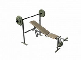 Adjustable weight training barbell bench 3d model