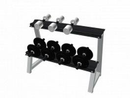 Fitness dumbbell set with rack 3d model