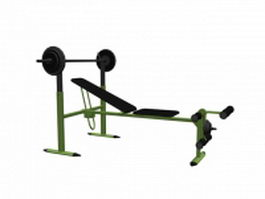 Adjustable barbell bench with rack and hold bar 3d model
