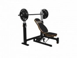 Adjustable weight training bench with rack and barbell 3d model