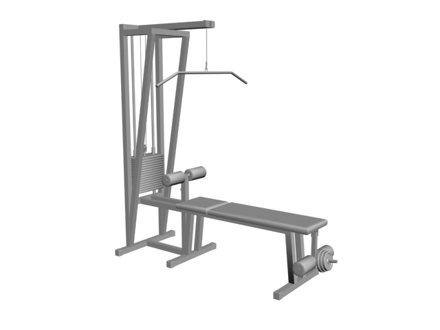 Pulldown machine with exercise bench 3d rendering