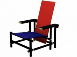 Red and blue chair 3d model